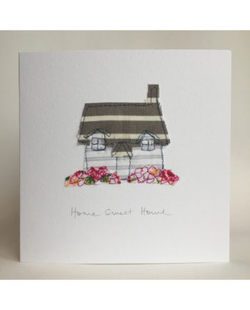 Sarah beaver design freehand machine embroidered greetings card home sweet home