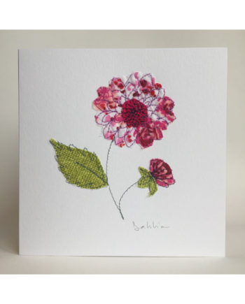 Sarah,becvar,design,floribunda,flower,dahlia,embroidery,card,notecard,birthday