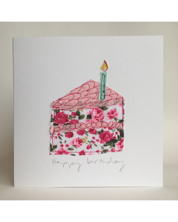 Sarah Becvar Design Floral Birthday Cake Embroidery Greetings Cards