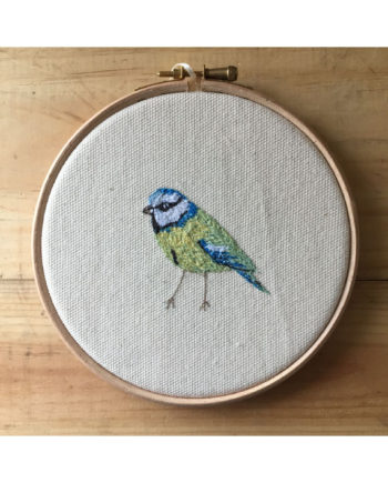 sarah becvra design freehand embroidery blue tit