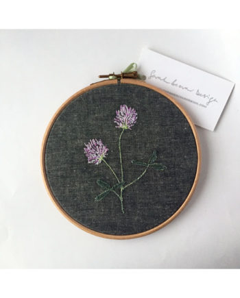 sarah Becvar design embroidered artwork flower clover embroidery