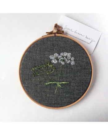 sarah Becvar design embroidered flower artwork hoop