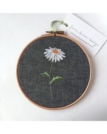 sarah Becvar design freehand embroidered hoop artwork flower daisy