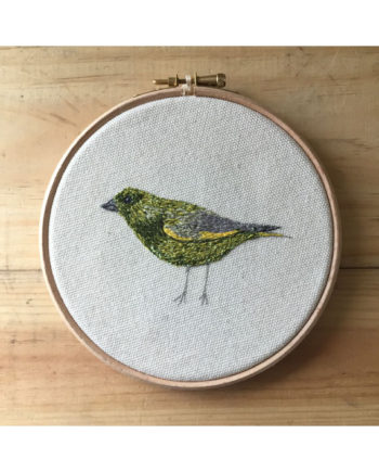 sarah Becvar design greenfinch bird art freehand embroidery