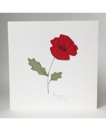 sarah Becvar design freehand embroidered greetings cards poppy flower
