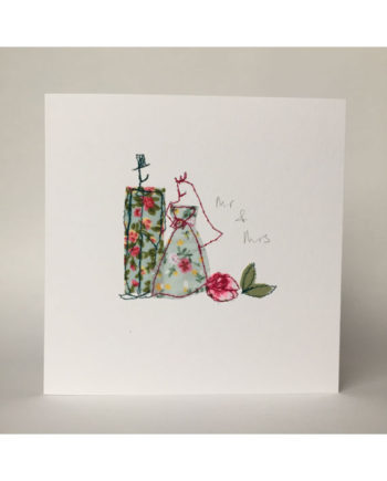sarah Becvar design freehand embroidered handmade greetings card Mr and Mrs wedding hand crafted stitched