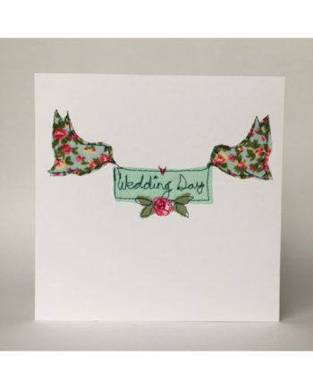 sarah Becvar design freehand embroidered wedding day greetings card birds