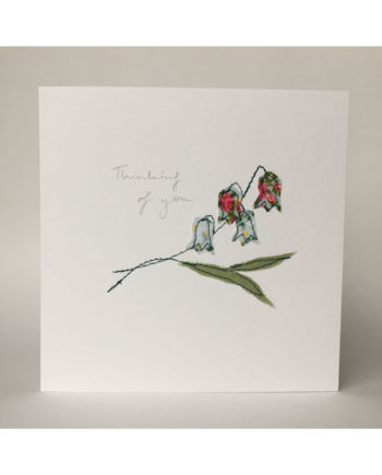 sarah Becvar design embroidered greetings cards floral flower thinking of you