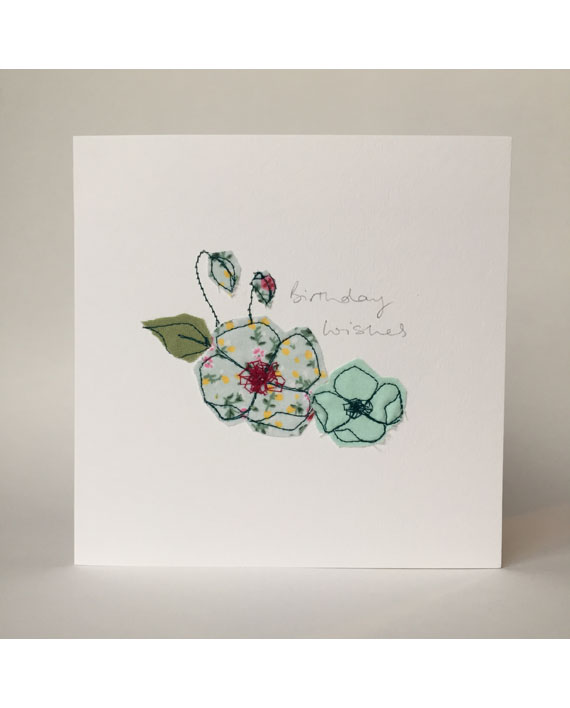 Sarah Becvar Design Freehand Embroidered Greetings Cards Flower Floral Birthday Card