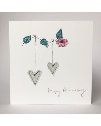 Sarah Becvar design freehand embroidered anniversary greetings card free motion embroidery handmade bespoke textile artist